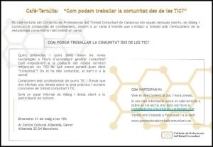 invitació cafè tertulia TIC i Comunitat marge